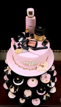 girly makeup cake