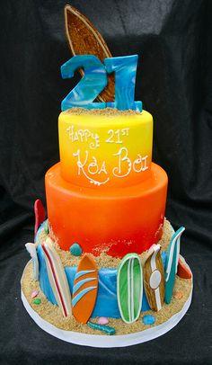 Surfing themed Birthday cake by Gimme Some Sugar (vegas!), via Cake Pretty Cakes, Cute Cakes, Beautiful Cakes, Amazing Cakes, Themed Birthday Cakes, Themed Cakes, Unique Cakes, Creative Cakes, Fondant Cakes