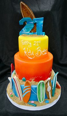 Surfing themed Birthday cake by Gimme Some Sugar (vegas!), via Flickr