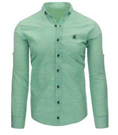 f037168d1942 Pánska košela s malým kockovaným vzorom a dlhými rukávmi. Farby  zelená