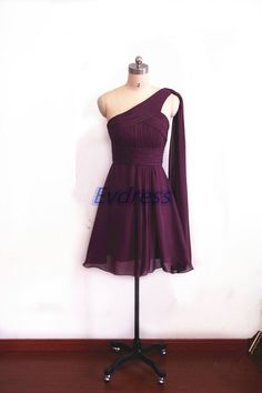 Short eggplant chiffon dress for women. by Evdress on Etsy. Also, available in your choice of a Rainbow of other colors. Great for Bridesmaids or formal events! The best part is the price at only $89.00