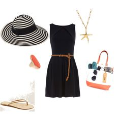 Navy and coral beach outfit. The black dress and brown belt similar to what she wore on our first date. @Martha