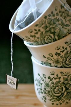 Transferware-like teacups