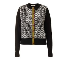 Orla Kiely Flower Check Jaquard Cardigan  Flower check jacquard front circle neck cardigan, with contrast black or brown sleeves and back. Contrast coloured button placket closure.