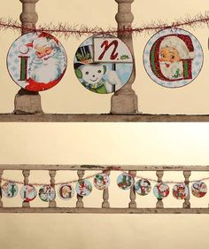 By Bethany Lowe. Retro images on pressed paper discs with tinsel and glitter. 9 Length.