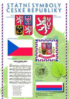 State symbols of Czechia Teaching Geography, Teaching History, Teaching Posts, Heart Of Europe, Elementary Science, School Humor, Social Science, Czech Republic, Social Studies