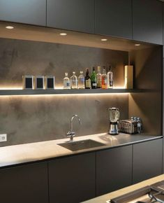 Trendy kitchen backsplash industrial home decor 30 ideas Modern Kitchen Cabinets, Kitchen Cabinet Design, Modern Kitchen Design, Kitchen Backsplash, Interior Design Kitchen, Wood Cabinets, Open Cabinets, Dark Cabinets, Modern Design