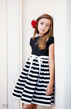Retro 1960's Style Black and White Stripe Dress children child girls clothing