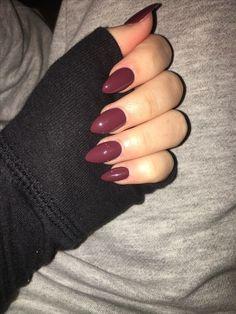 Acrylic maroon almond nails winter nails #almondshapednails