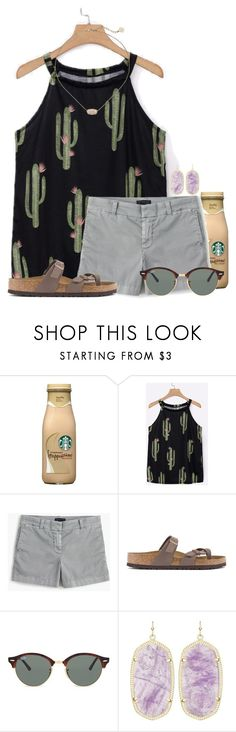 """Can't touch this"" by auburnlady ❤ liked on Polyvore featuring J.Crew, Birkenstock, Ray-Ban and Kendra Scott"