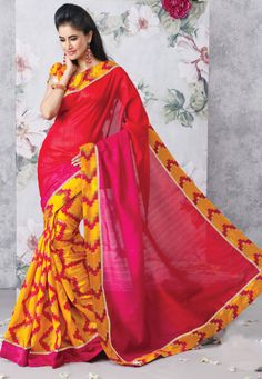 #DesiButik Holy Special offer 30% Discount for only FB User: code FB30  Maroon And Yellow Art #Silk #Saree designed with Patch Patta Work. And as shown Yellow Art #Silk #Blouse fabric is available which can be customize as per requirements.   INR:-1710