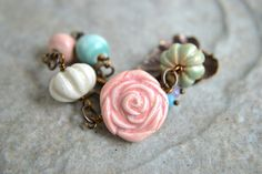 Cottage Rose Ceramic Bracelet by TheJunquerie on Etsy, $38.00
