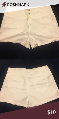 High-waisted, White Shorts High-waisted white shorts, gold buttons! Never worn refuge Shorts