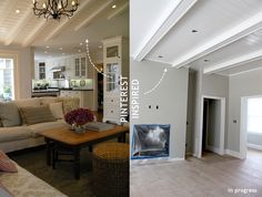 my pinterest inspired home - i copied this white tongue and groove ceiling with white painted beams