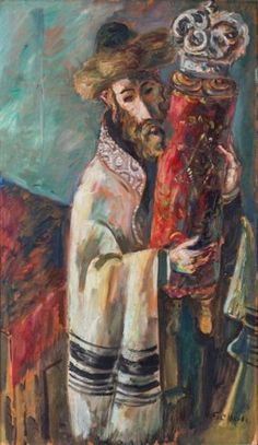 A LARGE AND MAGNIFICENT PAINTING BY ILYA SCHOR. Shabbat Candlesticks, Simchat Torah, Biblical Art, Marc Chagall, Jewish Art, Judaism, Israel, Auction, Shabbat Shalom