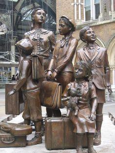 The Kindertransport Statue, Liverpool Street Station, London. Commemorates the transportation of endangered jewish children.