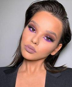 Makeup Eye Looks, Creative Makeup Looks, Cute Makeup, Glam Makeup, Pretty Makeup, Skin Makeup, Makeup Eyeshadow, Purple Lipstick Makeup, Blush Makeup