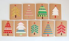 Make your own Christmas Cards using kraft paper, ribbons and fabric - Simple and classy!