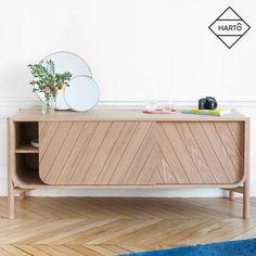 Low sideboard: Marius by Hartô, solid natural oak and MDF veneered oak