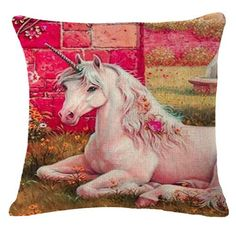 Unicorn Pillow Case Woven Cotton with Printed One Sided Graphic 18 x 18 Inches in Various Styles