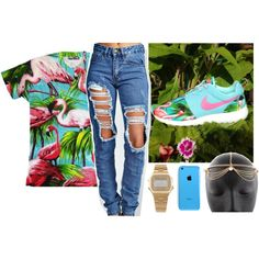 Flamingos, created by dope-goddess on Polyvore