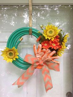 Summer wreath made from a hose!!