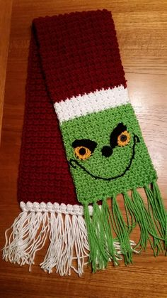 grinch scarf crochet pattern free Another Grinch Scarf Another Grinch Scarf Christmas Crochet Blanket, Crochet Santa, Christmas Scarf, Christmas Crochet Patterns, Crochet Winter, Holiday Crochet, Knit Or Crochet, Crochet Scarves, Grinch Christmas