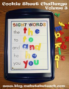 Sight word activities to use with cookie sheets and magnetic letters