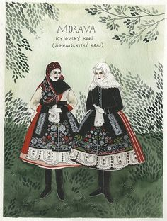 original watercolor and gouache painting of two women in traditional moravian folk costume. painting measure approximately x inches, with a inch white border. Tag Art, Folk Costume, Costumes, Folk Fashion, Naive Art, Gouache Painting, Graphic Illustration, Plant Illustration, Graffiti