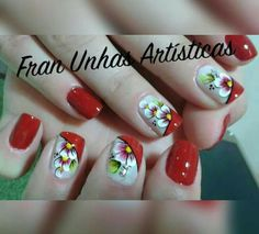Red Nail Art, Red Nails, Hair And Nails, Nails & Co, Fabric Paint Designs, Finger, Beauty Studio, Cute Acrylic Nails, Holiday Nails