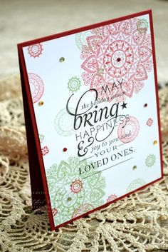 Meredith makes a beautiful Christmas card using Mehndi Medallion and Stylish Sentiments: Holiday.