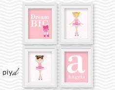 Custom nursery 4 piece set ballerina nursery print girls by PIYd