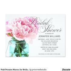 Pink Peonies Mason Jar Bridal Shower 5x7 Paper Invitations. Artwork designed by printcreekstudio.