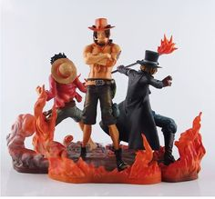 31.49$  Buy here  - One Piece Japanese Anime Luffy Ace Sabo Onepiece New World Brothers Fire Action Figure Toys Juguete Bonecos PVC Model 0063