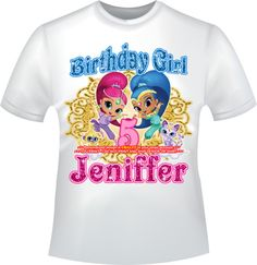 Shimmer And Shine Birthday Girl Iron On Transfer Personalized DIY Mommy Shirt Daddy Decal Family Shirts