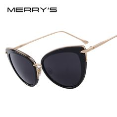 9d6459594 MERRY'S Fashion Women Cat Eye Sun glasses Oval Alloy Frame Mirror Lens  Oculos de sol UV400-in Sunglasses from Women's Clothing & Accessories on ...