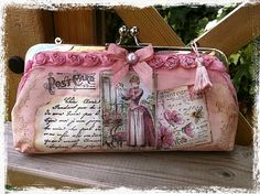 Large hand stamped and painted vintage purse wallet by Ephemera's Attic