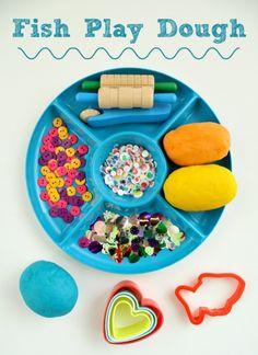 Fish Play Dough Invitation to Play Fish Activities, Playdough Activities, Summer Activities, Toddler Activities, Literacy Activities, Outdoor Activities, Messy Play, Ocean Themes, Play Doh