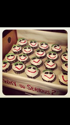 Cupcakes for my sons Joker themed birthday party!  'Why so serious?""