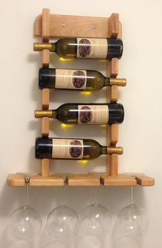 Items similar to Wall Mounted Wine Holder on Etsy- Items similar to Wall Mounted Wine Holder on Etsy Porta vino y copa - Woodworking Projects Diy, Woodworking Furniture, Wood Projects, Woodworking Tools, Wine Shelves, Wine Storage, Wall Hanging Wine Rack, Wine Rack Design, Rustic Wine Racks