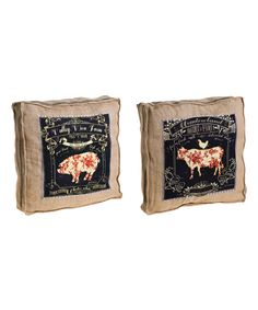 Evergreen -- Old Mill Farm Burlap Throw Pillow - Set of Two
