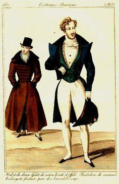 1831 A gentleman in full dress still has his chapeau bras.