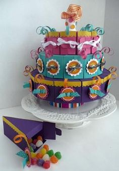 Three Tier Cake Made With Cake Slice Boxes: With the three tier cake slices box or pie box templates you will be able to build awesome paper box tiered cakes. This is a complete new set of cake box