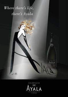 Poster created by Alix Fresson (alix-design.fr) for Champagne AYALA (for the US market) in 2014, re-using a drawing by Canetti.