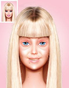 Barbie - without make-up.  Mexican artist Eddi Aguirre got out the chisel and removed all of Barbara Millicent Roberts' war paint.  He also added braces to her teeth.