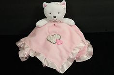 Carters Pink Hearts Kitty Cat Leopard Security Baby Blanket Satin Lovey Rattles