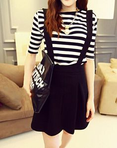 $8.63 Stylish Women's Round Neck Striped T-Shirt and Suspender Skirt Suit For