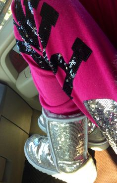 Pink sweatpants and Sparkly Boots