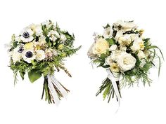 (Left)Bouquet of anemones, blushing bride proteas, Patience garden roses, majolica spray roses, lisianthuses, sweet peas, and Japanese andromeda, $250  (Right): Bouquet of snowball roses, nigellas, majolica, spray roses, and sweet peas, $150