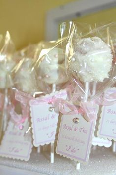 Bridal Shower Cake Pops & Handmade Favor Tags